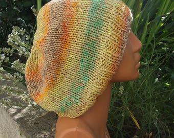 Loose knit slouchy hippy hat - Summer cotton boho style slouch beanie - Hand knitted multi coloured slouchy beanie
