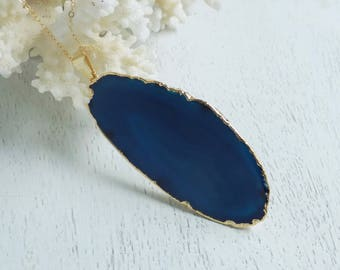 Agate Necklace, Teal Agate Pendant, Blue Slice Agate, Blue Agate Slice, Gemstone Necklace, Large Stone Agate Pendant, Gold Filled Chain, 70