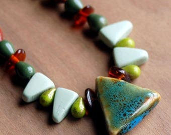 Funky Beaded Necklace, Boho Necklace, Stone and Glass Beaded