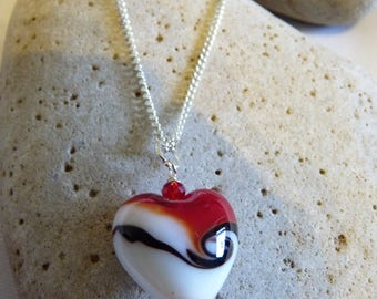 Red Lampwork Glass Heart Necklace