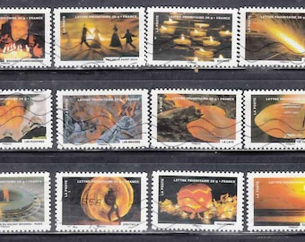 French used postage stamps set, 12 different 2011  France. Craft art supply collecting, scan enlarged. Orange, halloween, sunset, lava