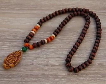 Buddha Necklace,Wood Necklace,Buddhist Necklace,Black 8mm Wood Beads,Spirituality,Mala,Prayer,Yoga Necklace,Man,Woman,Protection,Meditation