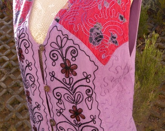 lovely lilac, purple vintage tunic top, size uk 14-16, usa 12-14, hippie, bobo, gypsy