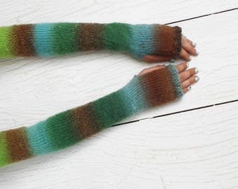 Extra long gloves Fingerless gloves Ombre gloves Knitted gloves Wool knitting gloves Arm warmers Colorful gloves Wrist warmers For her