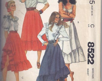 Vintage McCall's Sewing Pattern 8522 from 1983 Misses' Skirts -Waist 30 - Bias Skirts with ruffles.