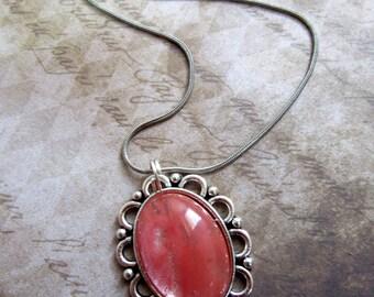 Silver Cherry Quartz Necklace, Cherry Quartz Jewelry, Oval Cherry Quartz Pendant Necklace, Tumbled  Cherry Quartz Stone Necklace Silver