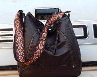 Large vintage brown faux leather over the shoulder or cross body hobo bag, bohemian bag, boho bag, gypsy bag, hobo bag