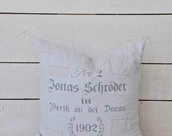 German Grainsack Style Pillow with patches, 16x16, 18x18 or 20x20
