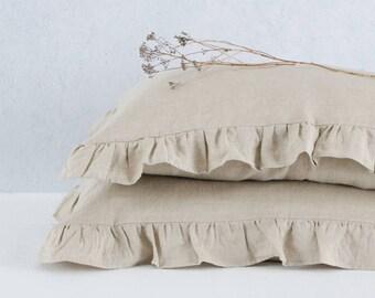 Rustic ruffled linen pillowcases, custom size, from so linen!