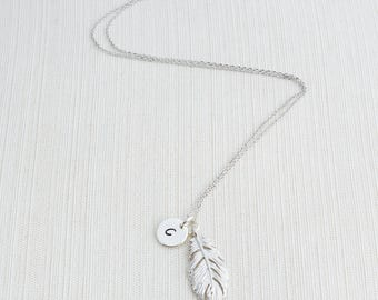 Silver Initial & Feather Charm, Initial Jewelry, Silver Plated Disc Necklace,  Silver Feather Necklace,  A great gift idea