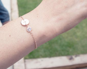Rose Gold initial & Cubic Zirconia Bracelet , Rose Gold Bracelet, Bridesmaid Bracelet , Initial Bracelet, , Dainty bracelet