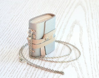 Small journal, Silver leather notebook, Mini book necklace on chain. Gift for booklovers. Book pendant