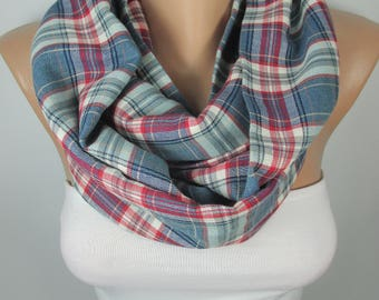 Plaid Infinity Scarf Circle Flannel Scarf Winter Accessories Women Men Holiday Fashion Accessories Christmas Gift Ideas For Her For Him