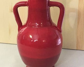 Beautiful Deep Red Long Neck Vase