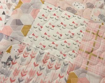 Moon cloud stars baby quilt, Sleepy woodland baby quilt, Girl baby quilt, Pink gray gold baby bedding, Cloud nursery, Handmade baby quilt