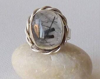 Sterling Silver Rutile Quartz Ring Size 6.5 Ring Statement Jewelry Statement Boho Ring, Big 925 Quartz Ring, Rutilated Quartz Jewelry 925