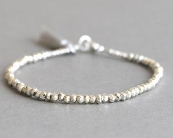 Silver Pyrite Bracelet Simple Silver Bracelet Tassel Bracelet Boho Bracelet  Layering Bracelet