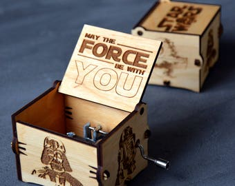 Star Wars Music Box Wooden Star Wars Custom Gift for Boyfriend Christmas Star Wars Gift for Brother Husband Star Wars Art Musical Box