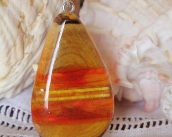 Jewels - wood and red orange resin glass beads