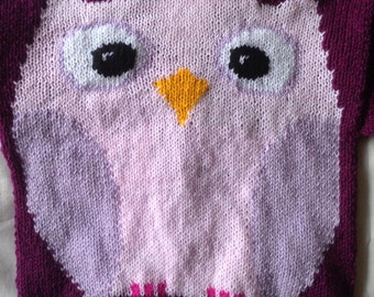 Made To Order Hand knitted Owl Cushion cover