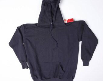 """Deadstock Vintage """"Sportswear"""" 70s 50/50 Blend Navy Blue Hooded Sweatshirt Size XL"""