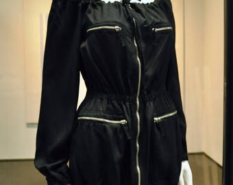 JPG Gaultier Jeans Rouched off the shoulder zip up jacket