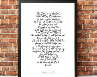 "Typography Poster ""The Lord is my Shepherd"" Psalm 23 Christian Scripture Bible Verse Wall Art Home Decor Print"