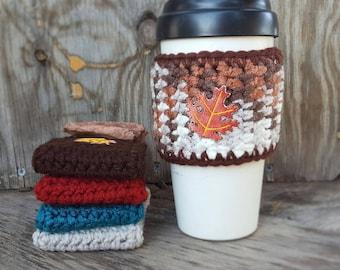 Fall Coffee Mug Cozy, Leaves Mug Cozy, Coffee Cup Cozy, Coffee Mug Sleeve, Coffee Cup Sleep, Crochet Coffee Cozy, Novelty Gift