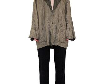 ISSEY MIYAKE 90s Reversible Pleated Jacket Size MEDIUM Two Tone Crinkle Beige