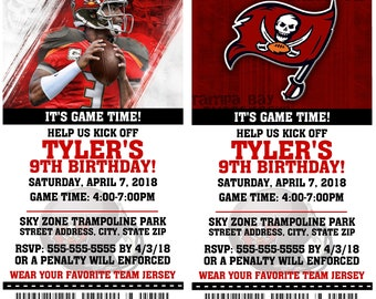 Printable Birthday Party Invitation Card Tampa Bay Buccaneers Birthday Ticket Invitation Football Weddings Baby Showers Bar Mitzvahs