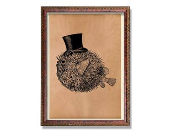 Antique gentleman fish print Nautical poster Animal decor Marine art