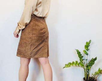 Brown suede skirt suede mini skirt suede short skirt tan leather skirt short leather skirt short suede skirt small mini skirt high waisted