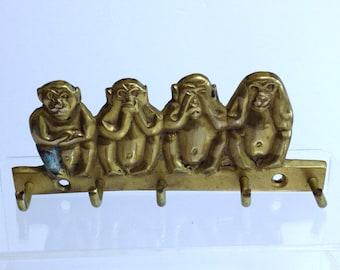 Vintage Brass Monkeys Key Hook, Handcrafted Monkeys Wall Hook, Cheeky Monkeys Figurines, Do No Evil See No Evil Hear No Evil Speak No Evil