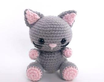 PATTERN: Kaylie the Kitten - Crochet cat pattern - amigurumi cat pattern - crocheted kitten pattern - cat toy tutorial - PDF crochet pattern