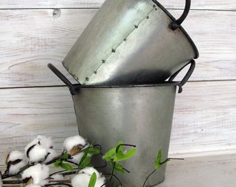 Galvanized Pail with Handles- Farmhouse Decor Metal Bucket - Country Decor Rustic Metal Bucket