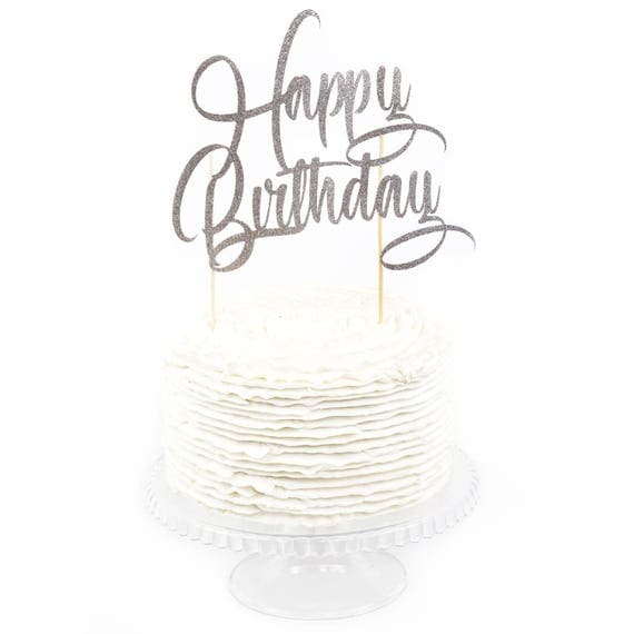Happy Birthday Cake Toppers, Happy Birthday Toothpicks, Silver Glitter Cake, Silver Glitter Birthday Cake Topper, Birthday Cake Topper