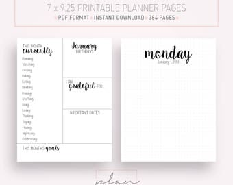 Printable 2018 Planner Dotted grid Fits Mambi Classic Minimal planner pages Bullet journal Fits Happy planner Bujo