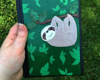 sloth journal, sloth, sloth lover, sloth notebook, lined notebook, polymer clay journal, lined journal, sloth notepad, sloth book