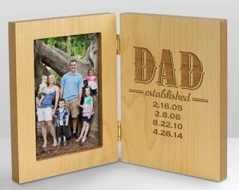 Dad Established Wood Frame, Dad Est. Engraved Frame, Personalized Dad Frame