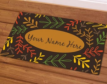 Fall Branches Doormat, Fall Welcome Mat, Family Name Doormat