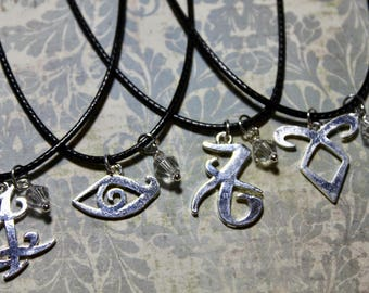 CHOOSE Your Rune Shadowhunter Necklace, Fandom Charm Necklace, Angelic Power, Parabatai, Fearless, Iratze, Clairvoyance, Love, By The Angel