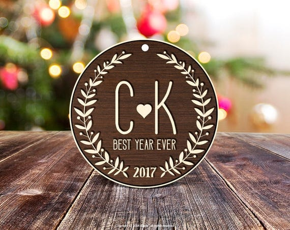 Rustic wood Couple Ornament Best Year Ever Ornament Christmas Ornament Personalized Ornament Engaged Christmas Ornament housewarming gift 21
