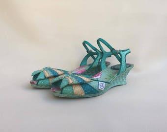Fiorucci Love Therapy wicker shoes / Platform Fiorucci rattan shoes / Elio Fiorucci vintage shoes / Rope shoes  EU 37 / UK 4 / USA 6