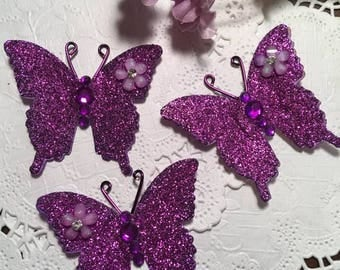 Purple Haze Glitter Crystal Bodied DarlingArtByValeri Butterflies Scrapbooking Embellishments Albums Cards Weddings Gifts Red Hat Society