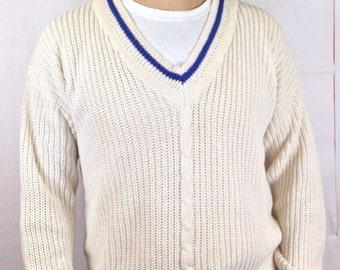 90s  GAP V Neck Tennis Sweater Mens S [Fits Large] Preppy Cotton Blend White Blue