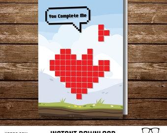 Tetris Pixel Heart | Geek Love Card | Printable 5x7 Card | INSTANT DOWNLOAD | Video Game Card | Printable Gift | Geek Card | DIY Gift