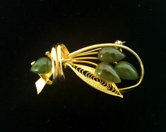 Vintage Brooch, Faux Jade, Gold Tone, Floral Design, Mid Century, Circa 1960s, Includes Gift Box