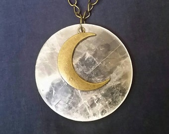LARGE Crystal Crescent Moon Pendant // Selenite Crystal Necklace // Full Moon STATEMENT Jewelry // Goddess Jewelry // Wicca Pagan Necklace