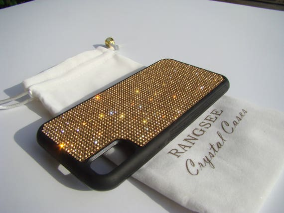 iPhone X Case , Gold Topaz Rhinestone Crystals on Black Rubber Case. Velvet/Silk Pouch Bag Included, .