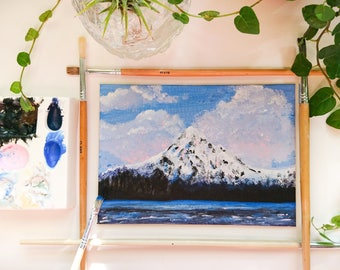 Original Acrylic painting, Original artwork, 5x7'' Mountain Acrylic painting, Landscape, Mt. Hood painting,